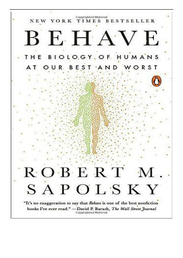 [PDF] Behave The Biology of Humans at Our Best and Worst Full ePub