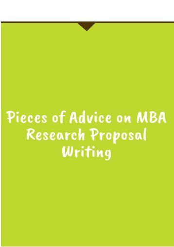 Pieces of Advice on MBA Research Proposal Writing
