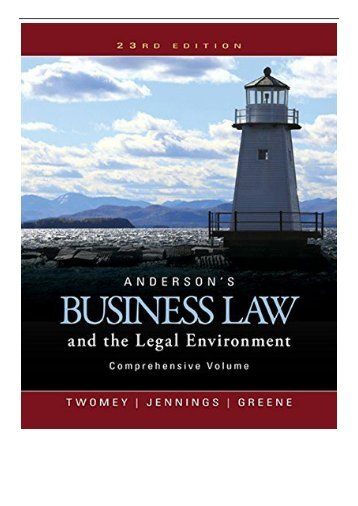 [PDF] Download Anderson's Business Law and the Legal Environment Comprehensive Volume Mindtap Course
