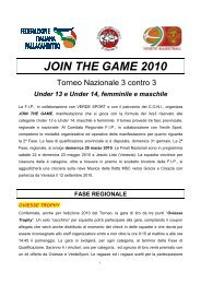 JOIN THE GAME 2010 - Federazione Italiana Pallacanestro