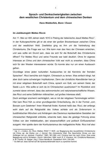 Sprach- und Denkschwierigkeiten zwischen - Hans Waldenfels