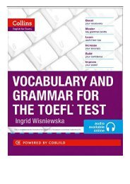 eBook Vocabulary and Grammar for the TOEFL Test Collins English for the TOEFL Test Free books