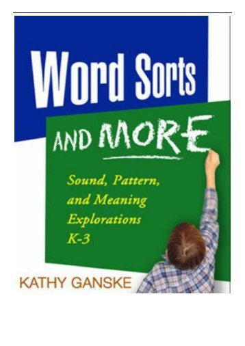 eBook Word Sorts and More Sound Pattern and Meaning Explorations K-3 Solving Problems in the Teaching