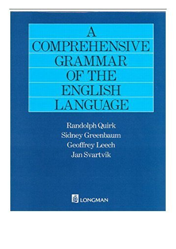 PDF Download A Comprehensive Grammar of the English Language General Grammar Free books
