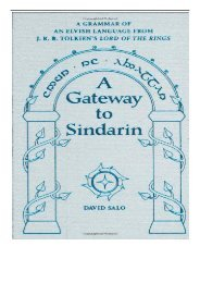 PDF Download A Gateway to Sindarin A Grammar of an Elvish Language from J. R. R. Tolkien's Lord of the
