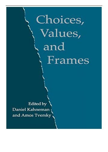 PDF Download Choices Values and Frames Free eBook