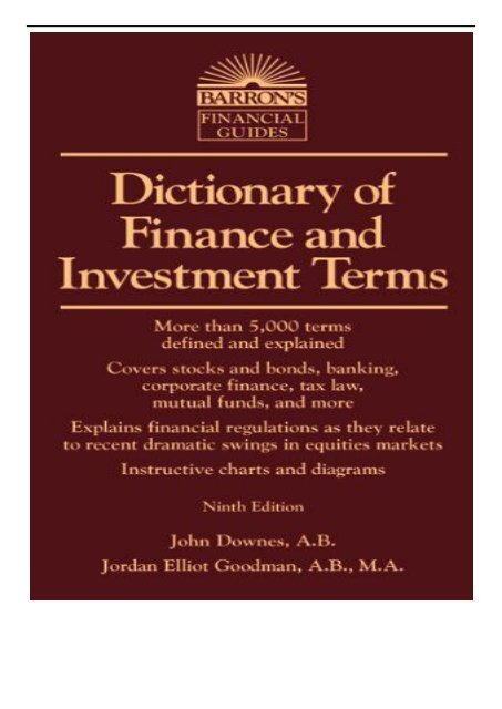 investment and finance terms dictionary