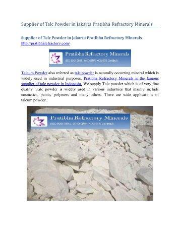 Supplier of Talc Powder Jakarta Pratibha Refractory Minerals