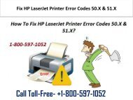 1-800-597-1052 Fix HP LaserJet Printer Error Codes 50.X & 51.X