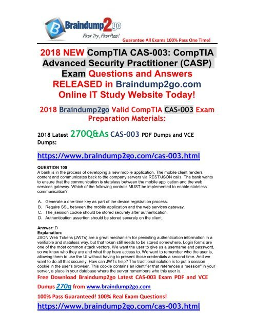 June-2018-Version)Braindump2go CAS-003 VCE and PDF Dumps 270Q Free