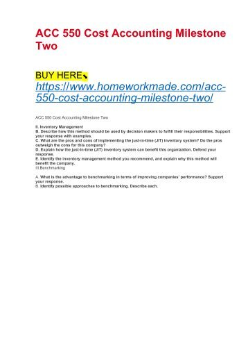 ACC 550 Cost Accounting Milestone Two