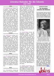 Literatur-Kalender für die Schweiz
