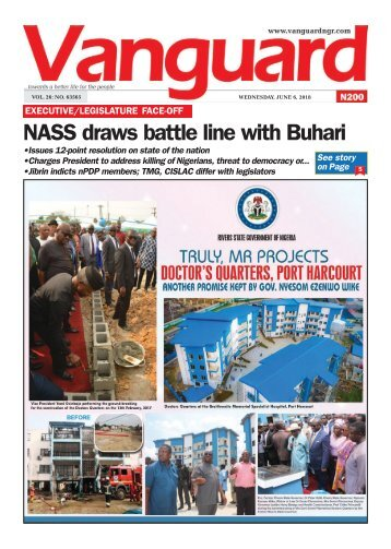 06062018 - EXECUTIVE/LEGISLATURE FACE-OFF: NASS draws battle line with Buhari
