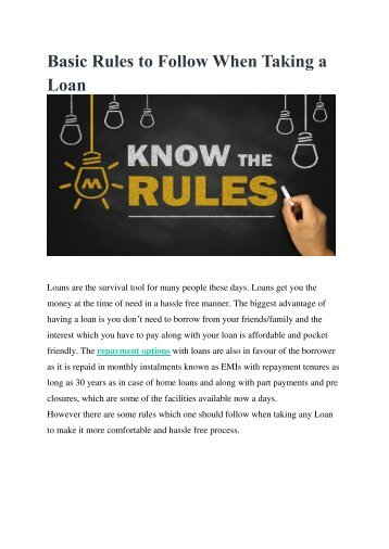 Basic Rules to Follow When Taking a Loan