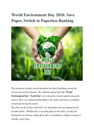 World Environment Day 2018 Save Paper, Switch to Paperless Banking