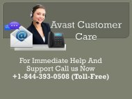 Avast Customer Care +1-844-393-0508