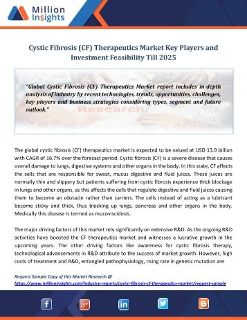Cystic Fibrosis (CF) Therapeutics Market Key Players and Investment Feasibility Till 2025 (Autosaved)