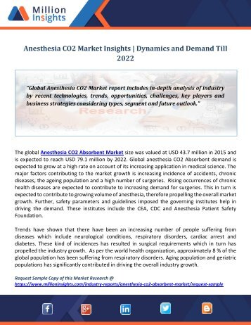Anesthesia CO2 Market Insights  Dynamics and Demand Till 2022