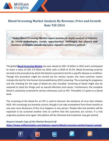 Blood Screening Market Analysis By Revenue, Price and Growth Rate Till 2024