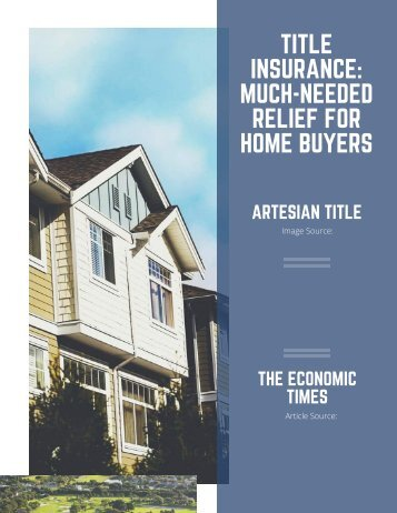 TITLE INSURANCE_ MUCH-NEEDED RELIEF FOR HOME BUYERS