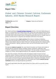 Ground Calcium Carbonate Industry, 2018 Market Research Report