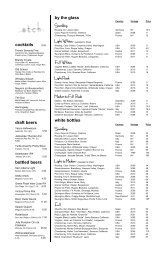 cocktails draft beers bottled beers by the glass ... - Etch Restaurant