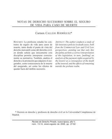 NOTAS DE DERECHO SUCESORIO SOBRE EL SEGURO DE VIDA ...