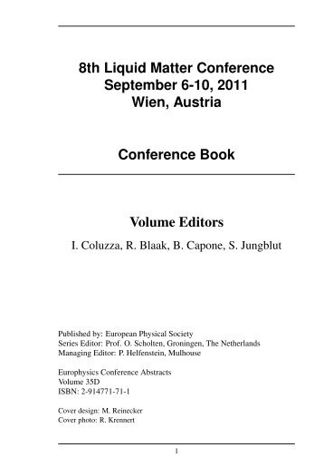 8th Liquid Matter Conference September 6-10, 2011 Wien, Austria ...