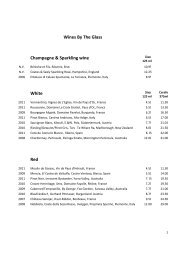 Wines By The Glass Champagne & Sparkling wine ... - Chez Bruce