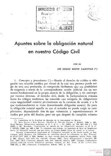 Apuntes sobre la obligación natural en nuestro Código Civil