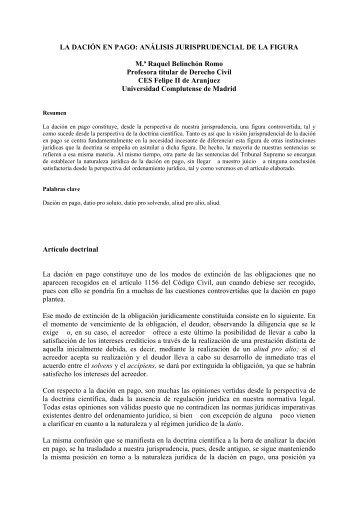 LA DACIÓN EN PAGO: ANÁLISIS ... - CES Felipe II