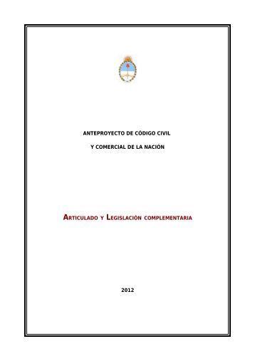ANTEPROYECTO DE CÓDIGO CIVIL Y COMERCIAL DE LA ...