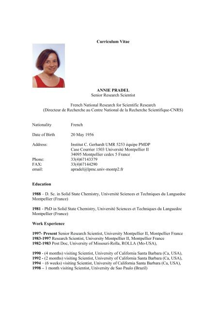 curriculum vitae annie pradel senior research