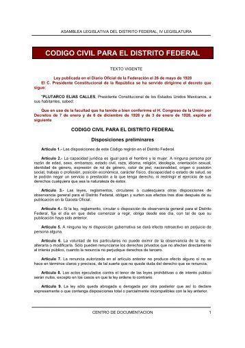 CODIGO CIVIL PARA EL DISTRITO FEDERAL - Fimevic - Gobierno ...