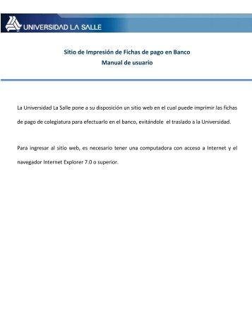 Sitio de Impresión de Fichas de pago en Banco Manual de usuario