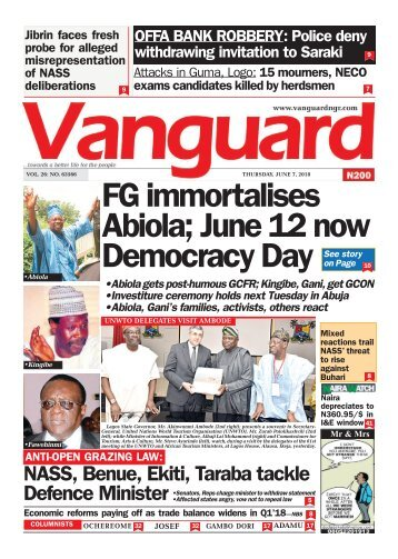07062018 - FG immortalises Abiola; June 12 now Democracy Day