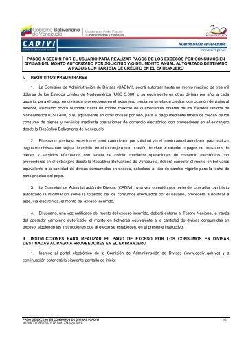 Instructivo Usuario Pago de Exceso _2010_ - Cadivi