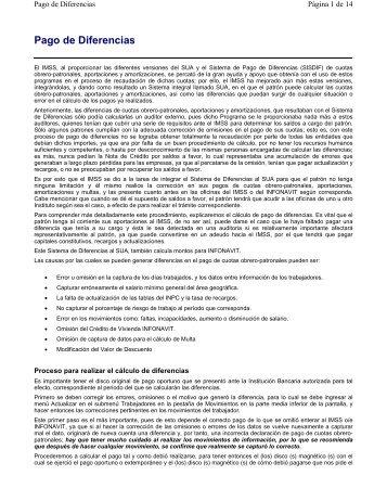 Pago de Diferencias - IMSS