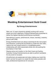 Wedding Entertainment Gold Coast