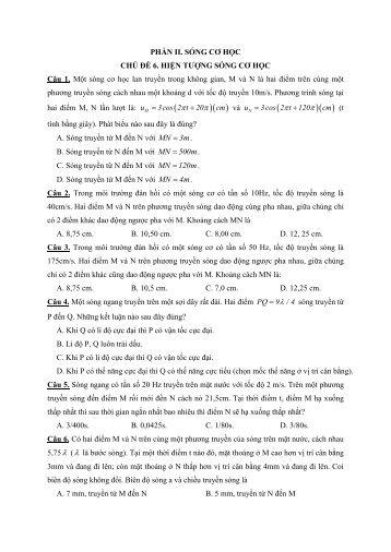 Các dạng bài tập hay lạ khó chương SÓNG CƠ HỌC có lời giải chi tiết