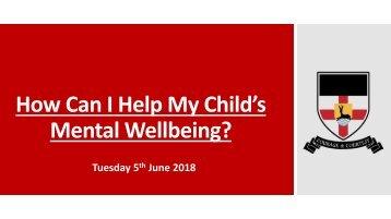 How Can I Help My Childs Mental Wellbeing Presentation