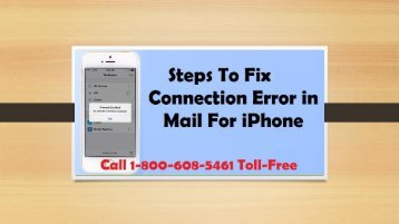 How to Fix Connection Error In Mail For iPhone? Call 1-800-608-5461