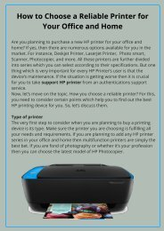 Select a Reliable Printer for Your Office and Home Uses