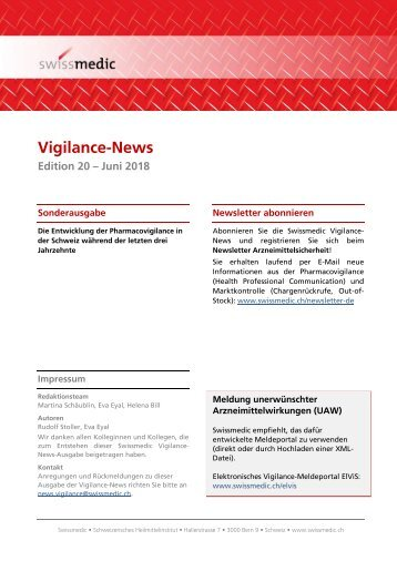 Swissmedic Vigilance-News Edition 20 – Juni 2018