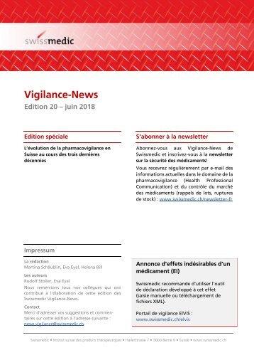 Swissmedic Vigilance-News Edition 20 – juin 2018