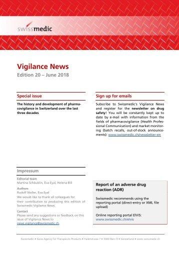 Swissmedic Vigilance News Edition 20 – June 2018