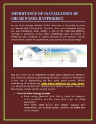 Importance of Installation of Solar Panel Batteries