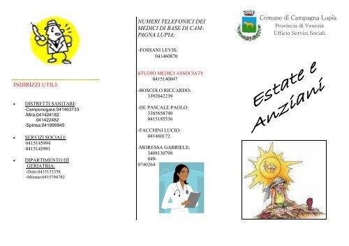 Estate E Anziani Brochure Comune Di Campagna Lupia
