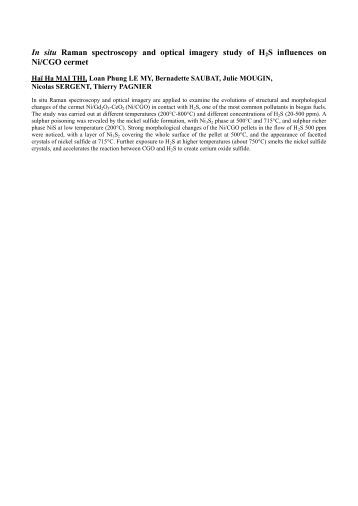 In situ Raman spectroscopy and optical imagery study of H2S ...