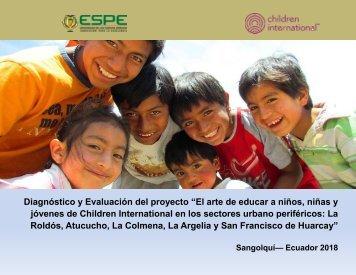 """Diagnóstico y Evaluación del proyecto """"El arte de educar a niños, niñas y jóvenes de Children International en los sectores urbano periféricos"""""""